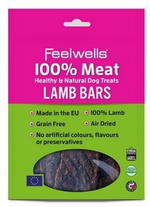 Feelwells 100% Meat Dog Treats Lamb Bars (5pack) x 10