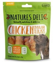 Natures Deli Chicken Wrapped Rawhide Twist Medium 6 pack 120g x 10