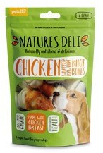 Natures Deli Chicken Wrapped Rawhide Knot Bones Small 6pk 90g x 10