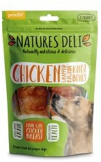 Natures Deli Chicken Wrapped Rawhide Knot Bone Medium 2pk 160g x 10