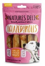 Natures Deli Chicken Glazed Rawhide Rolls Medium 5pk 90g x 10