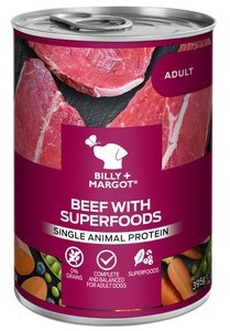 Billy and Margot Beef Superfood Can Wet 395g x 12