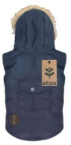 Sotnos Fur Trim Parka Navy Dog Coat Medium