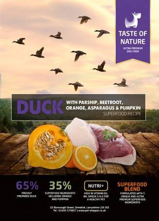 Taste of Nature Duck Superfood 65/35 Dog Food 12kg