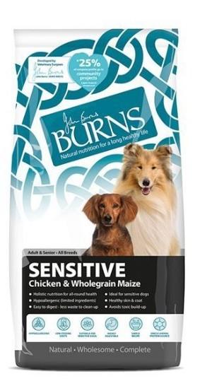Burns Sensitive Chicken and Maize Dog Food 6KG