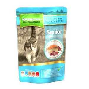 Natures Menu Senior Cat Food Chicken Salmon and Cod 100g Pouch