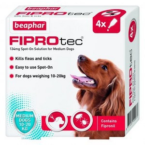 Fiprotec Spot On Flea treatment for Medium Dogs 10-20kg 4 pipettes