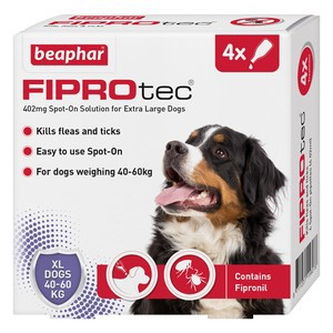 Fiprotec Spot On Flea treatment for Extra large Dogs 40-60kg 4 pipettes