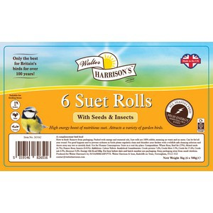 Harrisons Suet Rolls with Seed and Insects 6 pack