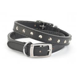 Studded Leather Dog Collar Black 45-54cm size 6